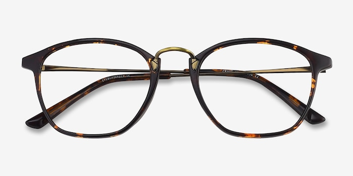 Crave Tortoise Metal Eyeglass Frames from EyeBuyDirect, Closed View