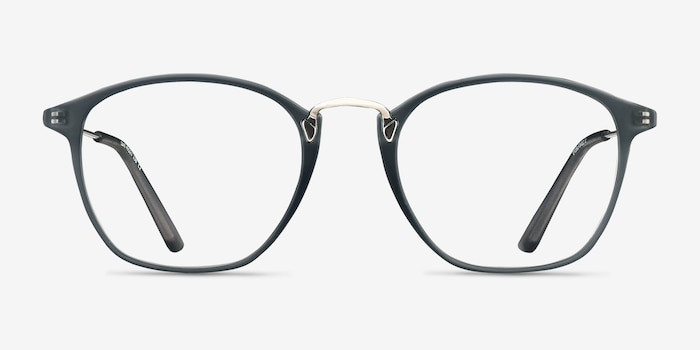 Crave Matte Gray Metal Eyeglass Frames from EyeBuyDirect, Front View