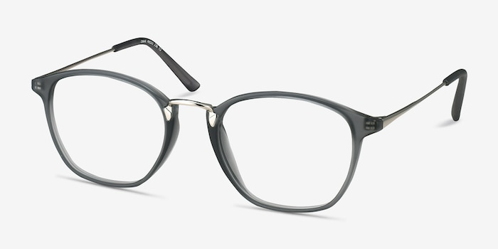 Crave Matte Gray Metal Eyeglass Frames from EyeBuyDirect, Angle View