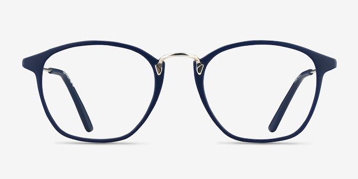 Crave Matte Navy Metal Eyeglass Frames from EyeBuyDirect, Front View