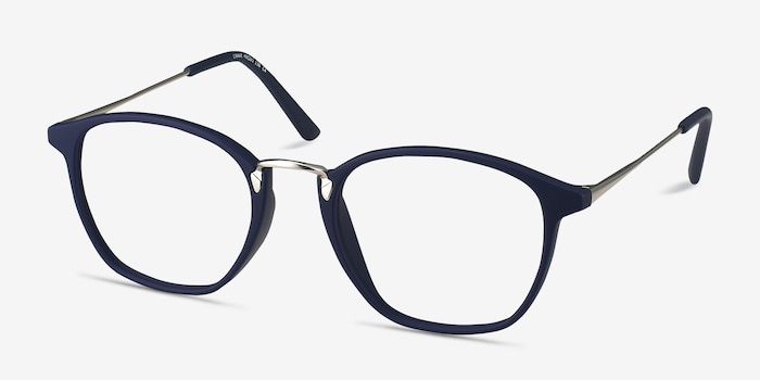 Crave Matte Navy Metal Eyeglass Frames from EyeBuyDirect, Angle View