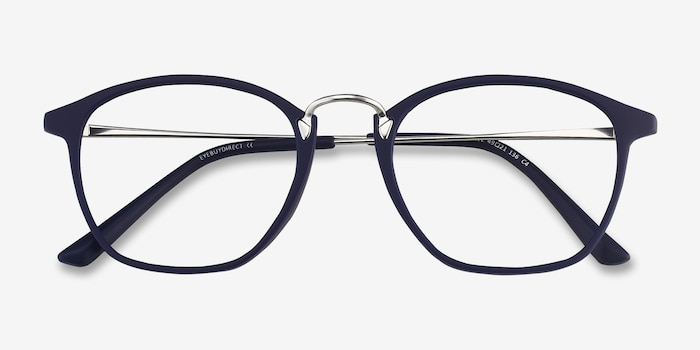 Crave Matte Navy Metal Eyeglass Frames from EyeBuyDirect, Closed View