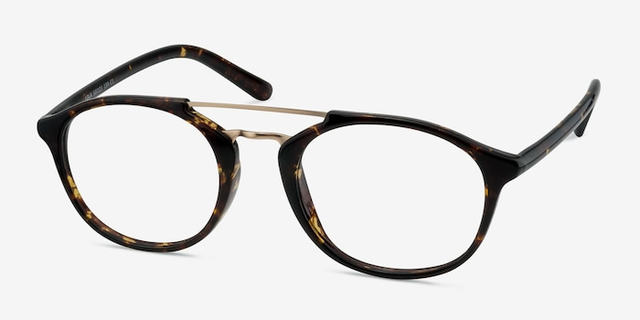 Lola Tortoise  Metal Eyeglass Frames from EyeBuyDirect, Angle View