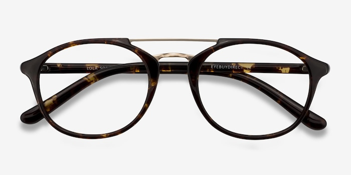 Lola Tortoise  Metal Eyeglass Frames from EyeBuyDirect, Closed View