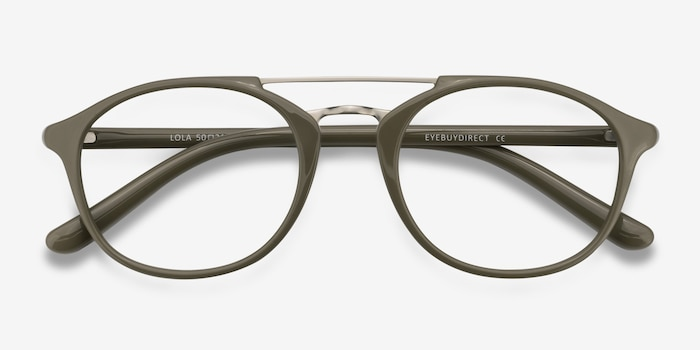 Lola Olive Metal Eyeglass Frames from EyeBuyDirect, Closed View