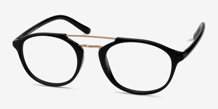 Lola Black Metal Eyeglass Frames from EyeBuyDirect, Angle View