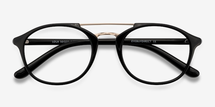 Lola Black Metal Eyeglass Frames from EyeBuyDirect, Closed View