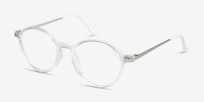 Hijinks Clear Metal Eyeglass Frames from EyeBuyDirect, Angle View