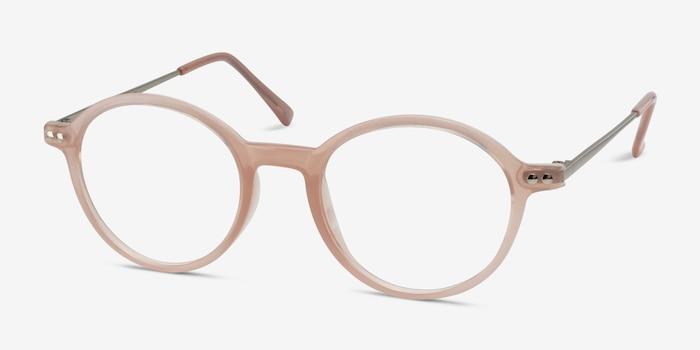 Hijinks Pink Metal Eyeglass Frames from EyeBuyDirect, Angle View