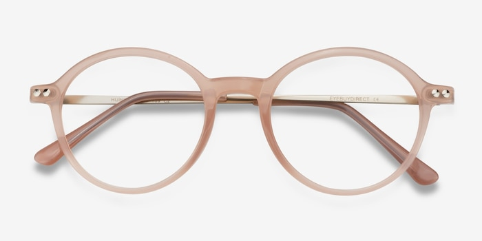 Hijinks Pink Metal Eyeglass Frames from EyeBuyDirect, Closed View
