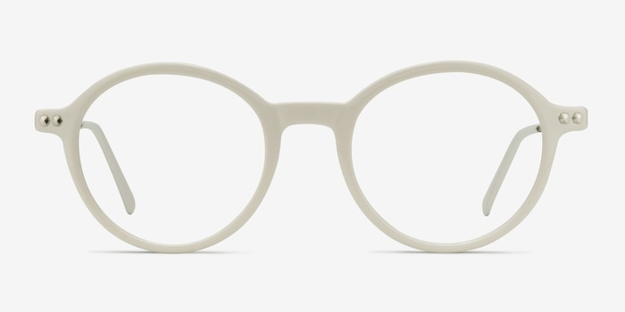 Hijinks White Metal Eyeglass Frames from EyeBuyDirect, Front View
