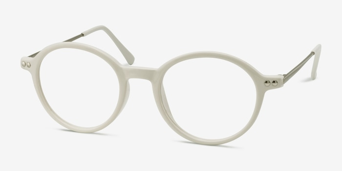 Hijinks White Metal Eyeglass Frames from EyeBuyDirect, Angle View