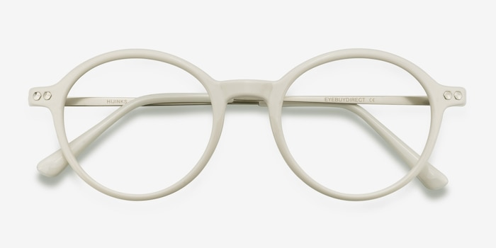 Hijinks White Metal Eyeglass Frames from EyeBuyDirect, Closed View
