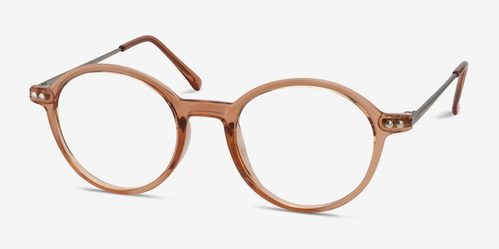 Hijinks Cinnamon Metal Eyeglass Frames from EyeBuyDirect, Angle View