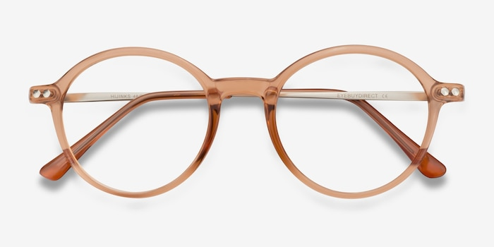 Hijinks Cinnamon Metal Eyeglass Frames from EyeBuyDirect, Closed View