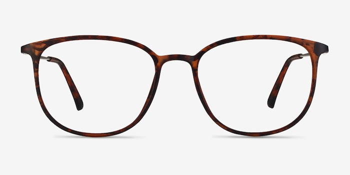 Strike Matte Tortoise Metal Eyeglass Frames from EyeBuyDirect, Front View
