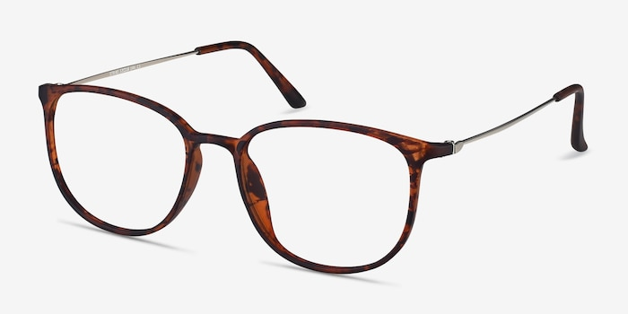 Strike Matte Tortoise Metal Eyeglass Frames from EyeBuyDirect, Angle View