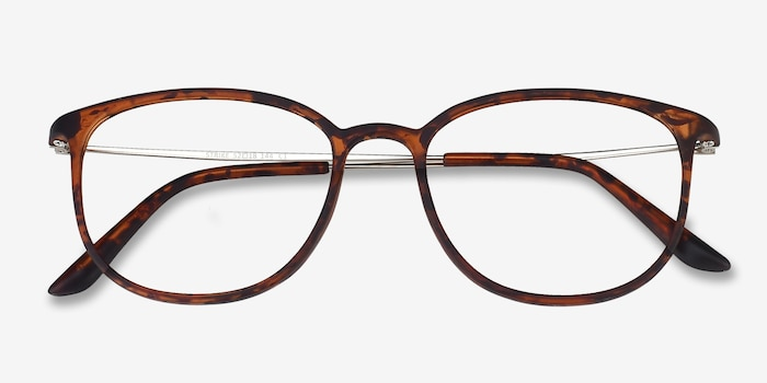 Strike Matte Tortoise Metal Eyeglass Frames from EyeBuyDirect, Closed View
