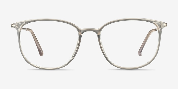 Strike Clear Gray Metal Eyeglass Frames from EyeBuyDirect, Front View