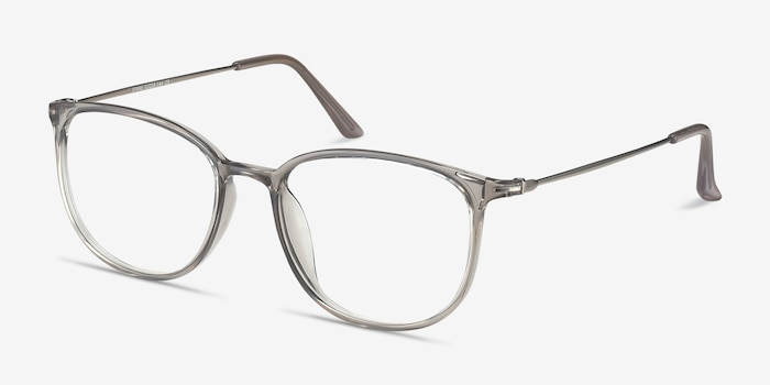Strike Clear Gray Metal Eyeglass Frames from EyeBuyDirect, Angle View