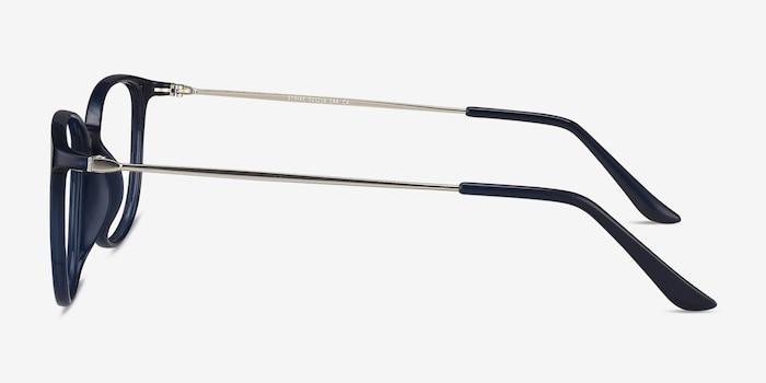 Strike Navy Metal Eyeglass Frames from EyeBuyDirect, Side View