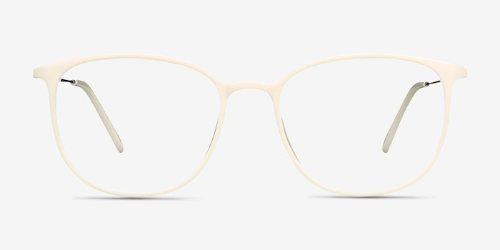 Strike white Metal Eyeglass Frames from EyeBuyDirect, Front View