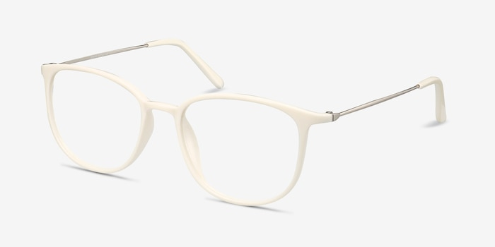 Strike white Metal Eyeglass Frames from EyeBuyDirect, Angle View