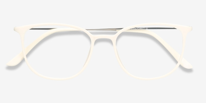 Strike white Metal Eyeglass Frames from EyeBuyDirect, Closed View
