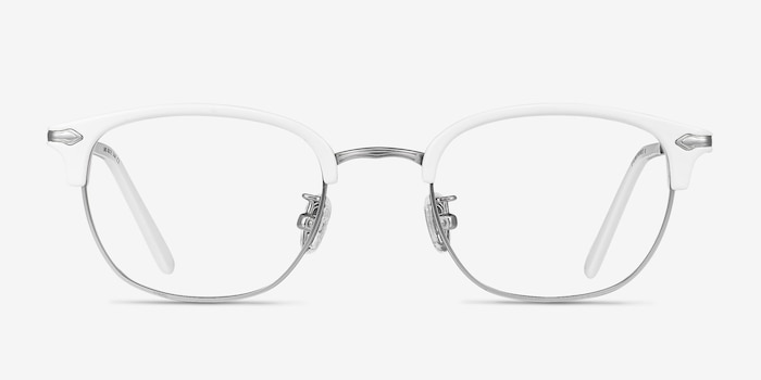 Links White Metal Eyeglass Frames from EyeBuyDirect, Front View