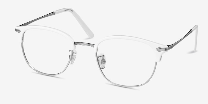 Links White Metal Eyeglass Frames from EyeBuyDirect, Angle View