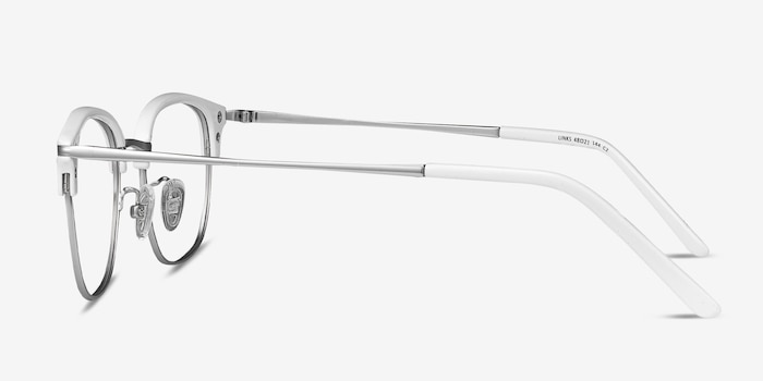 Links White Metal Eyeglass Frames from EyeBuyDirect, Side View