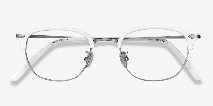 Links White Metal Eyeglass Frames from EyeBuyDirect, Closed View