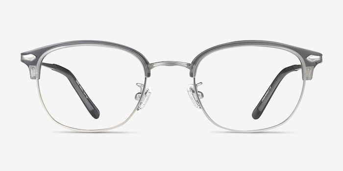 Links Matte Gray Metal Eyeglass Frames from EyeBuyDirect, Front View