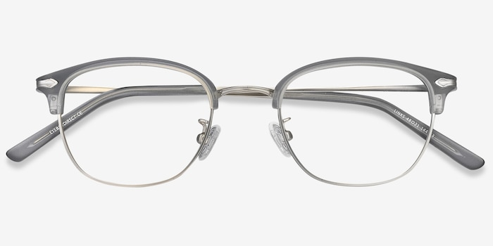 Links Matte Gray Metal Eyeglass Frames from EyeBuyDirect, Closed View