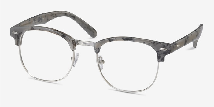 Roots Speckled Gray Plastic-metal Eyeglass Frames from EyeBuyDirect, Angle View