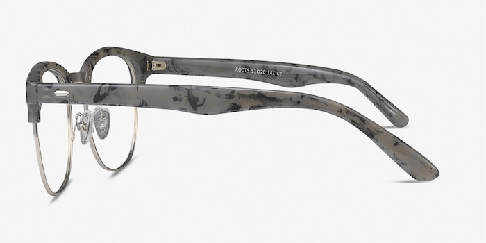 Roots Speckled Gray Metal Eyeglass Frames from EyeBuyDirect, Side View
