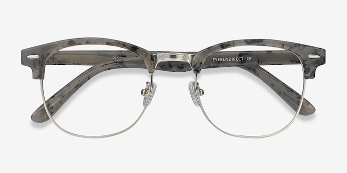 Roots Speckled Gray Metal Eyeglass Frames from EyeBuyDirect, Closed View