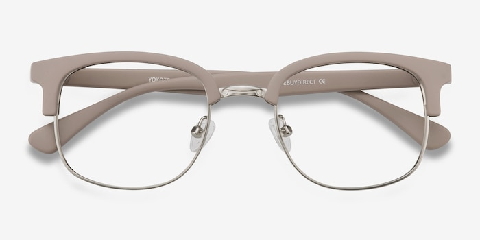 Yokote Gray Metal Eyeglass Frames from EyeBuyDirect, Closed View