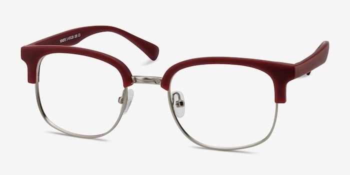 Yokote Matte Burgundy Metal Eyeglass Frames from EyeBuyDirect, Angle View