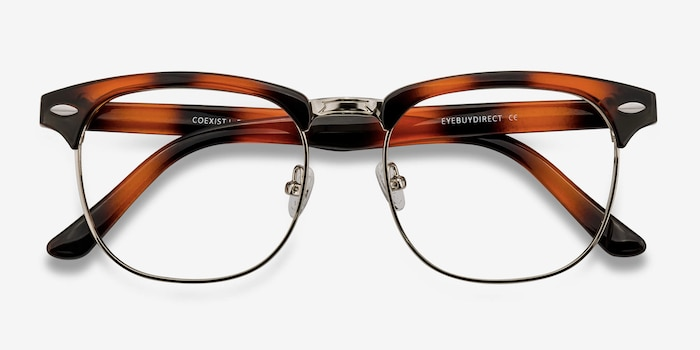 Coexist Tortoise Metal Eyeglass Frames from EyeBuyDirect, Closed View