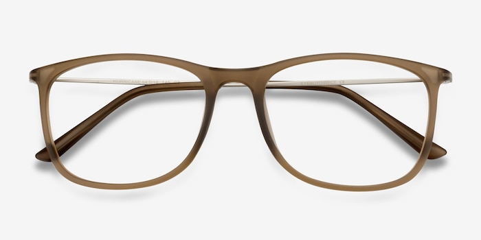 Hurricane Matte Cinnamon Metal Eyeglass Frames from EyeBuyDirect, Closed View