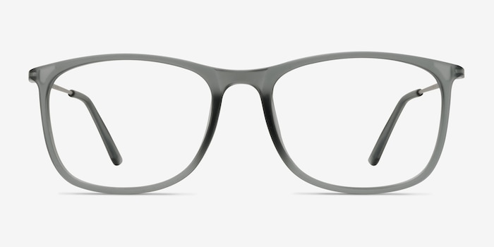 Hurricane Matte Gray Metal Eyeglass Frames from EyeBuyDirect, Front View