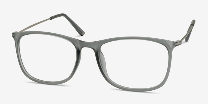 Hurricane Matte Gray Metal Eyeglass Frames from EyeBuyDirect, Angle View