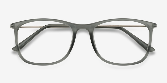 Hurricane Matte Gray Metal Eyeglass Frames from EyeBuyDirect, Closed View