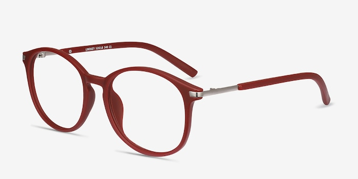 Lindsey Burgundy Metal Eyeglass Frames from EyeBuyDirect, Angle View