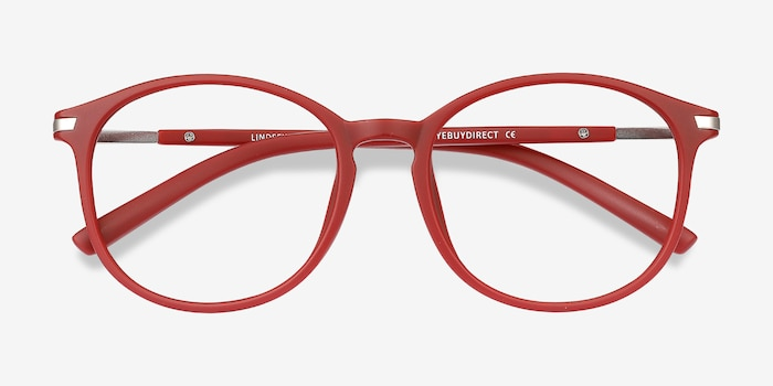 Lindsey Burgundy Metal Eyeglass Frames from EyeBuyDirect, Closed View