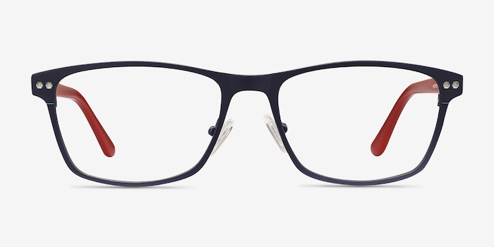 Comity Navy Metal Eyeglass Frames from EyeBuyDirect, Front View
