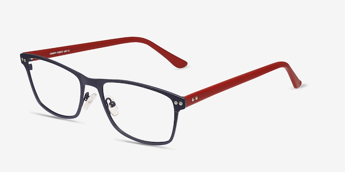 Comity Navy Metal Eyeglass Frames from EyeBuyDirect, Angle View