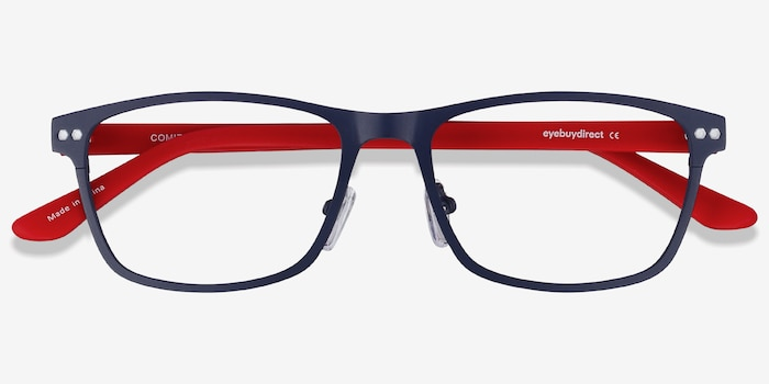 Comity Navy Metal Eyeglass Frames from EyeBuyDirect, Closed View