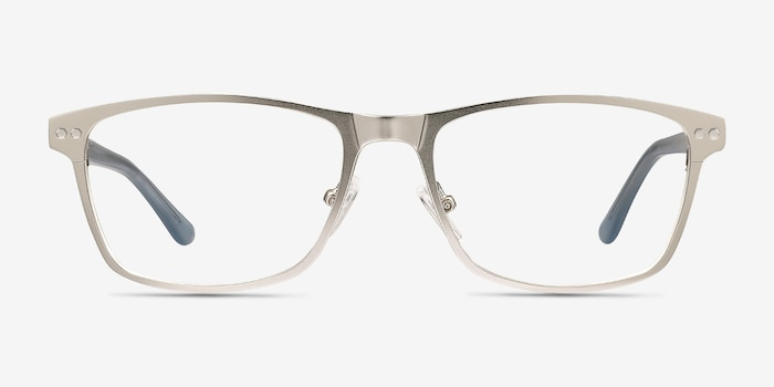 Comity Silver Metal Eyeglass Frames from EyeBuyDirect, Front View